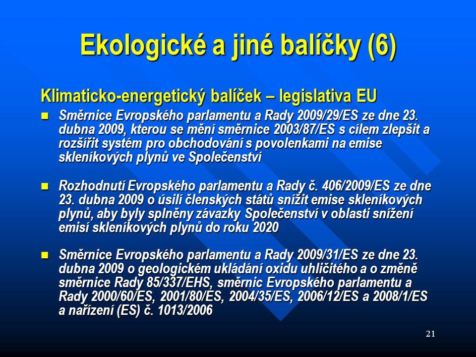 21 Klimaticko-energetický balíček – legislativa EU Směrnice Evropského parlamentu a Rady 2009/29/ES ze dne 23.