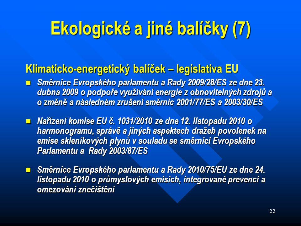 22 Klimaticko-energetický balíček – legislativa EU Směrnice Evropského parlamentu a Rady 2009/28/ES ze dne 23.