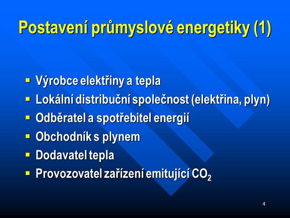 4 Postavení průmyslové energetiky (1)  Výrobce elektřiny a tepla  Lokální distribuční společnost (elektřina, plyn)  Odběratel a spotřebitel energií  Obchodník s plynem  Dodavatel tepla  Provozovatel zařízení emitující CO 2