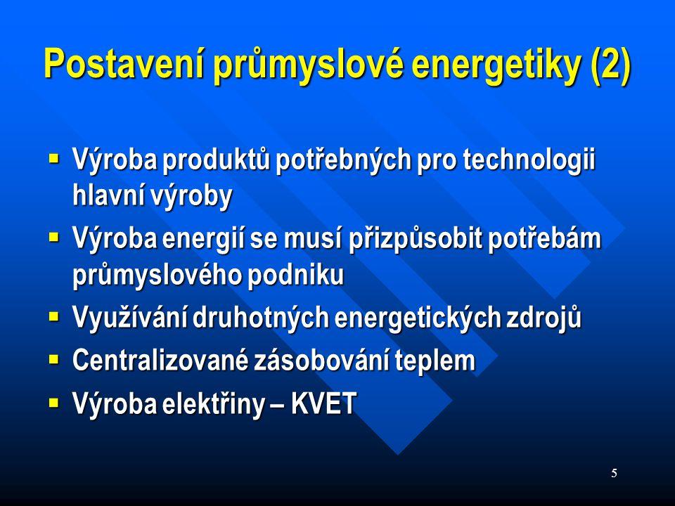 5 Postavení průmyslové energetiky (2)  Výroba produktů potřebných pro technologii hlavní výroby  Výroba energií se musí přizpůsobit potřebám průmyslového podniku  Využívání druhotných energetických zdrojů  Centralizované zásobování teplem  Výroba elektřiny – KVET