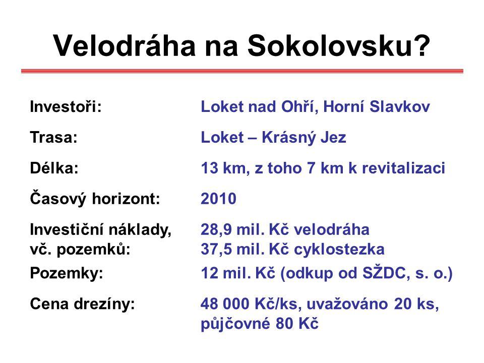 Velodráha na Sokolovsku? Investoři:Loket nad Ohří, Horní Slavkov Trasa:Loket – Krásný Jez Délka:13 km, z toho 7 km k revitalizaci Časový horizont:2010