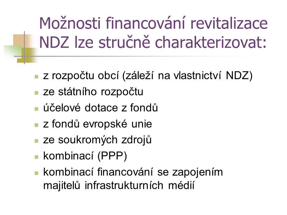 Možnosti financování revitalizace NDZ lze stručně charakterizovat: z rozpočtu obcí (záleží na vlastnictví NDZ) ze státního rozpočtu účelové dotace z f