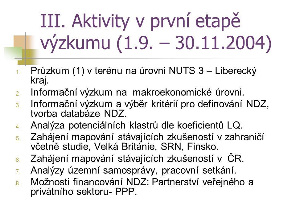 III. Aktivity v první etapě výzkumu (1.9. – 30.11.2004) 1. Průzkum (1) v terénu na úrovni NUTS 3 – Liberecký kraj. 2. Informační výzkum na makroekonom