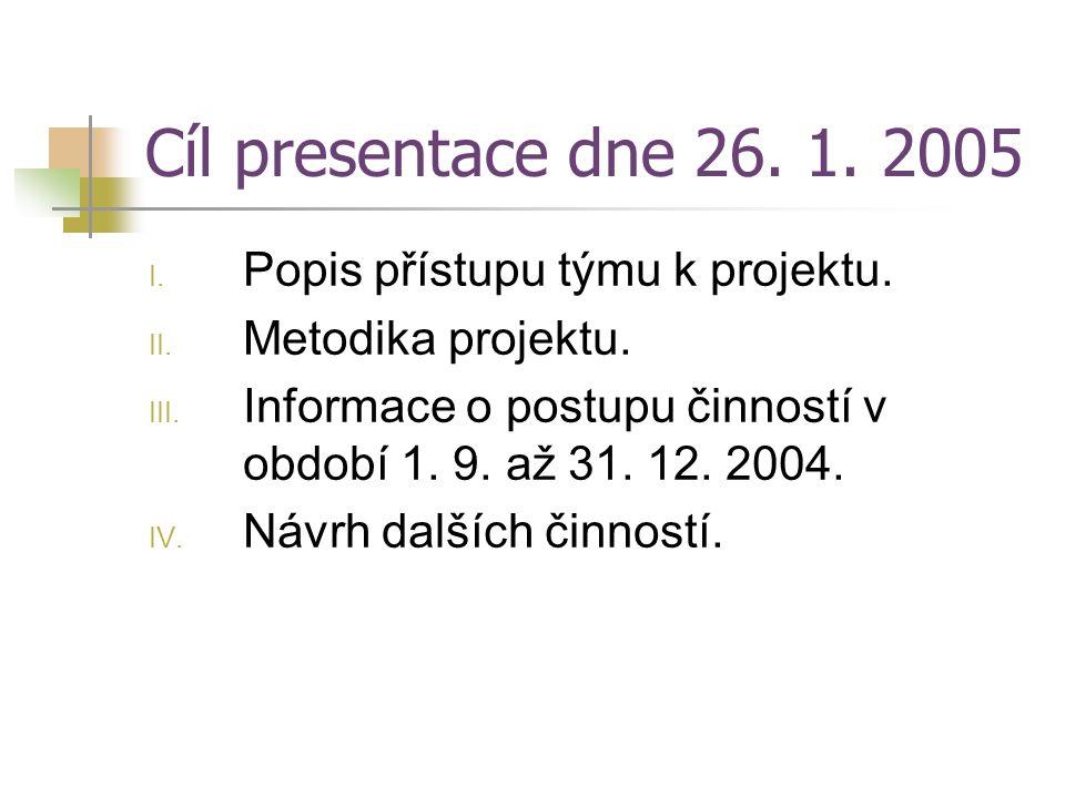 Cíl presentace dne 26. 1. 2005 I. Popis přístupu týmu k projektu. II. Metodika projektu. III. Informace o postupu činností v období 1. 9. až 31. 12. 2