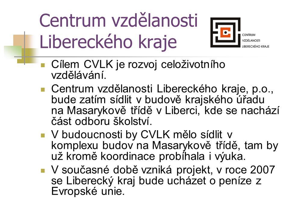 Centrum vzdělanosti Libereckého kraje Cílem CVLK je rozvoj celoživotního vzdělávání. Centrum vzdělanosti Libereckého kraje, p.o., bude zatím sídlit v