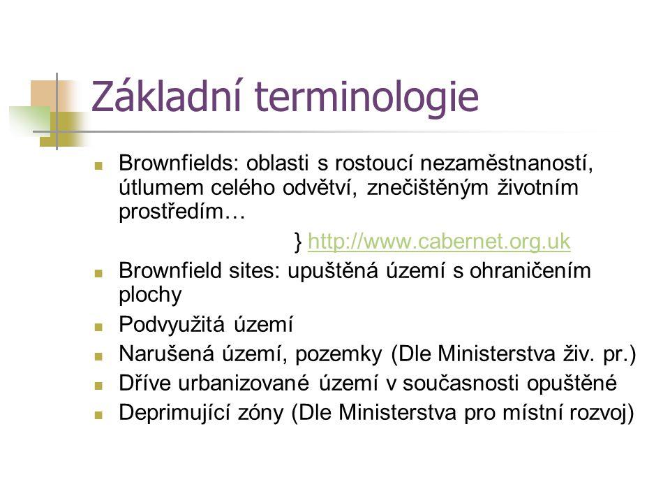 Základní terminologie Brownfields: oblasti s rostoucí nezaměstnaností, útlumem celého odvětví, znečištěným životním prostředím… } http://www.cabernet.