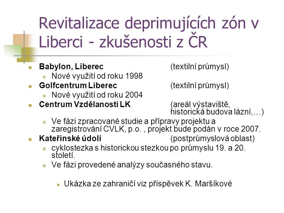 Revitalizace deprimujících zón v Liberci - zkušenosti z ČR Babylon, Liberec (textilní průmysl) Nové využití od roku 1998 Golfcentrum Liberec(textilní