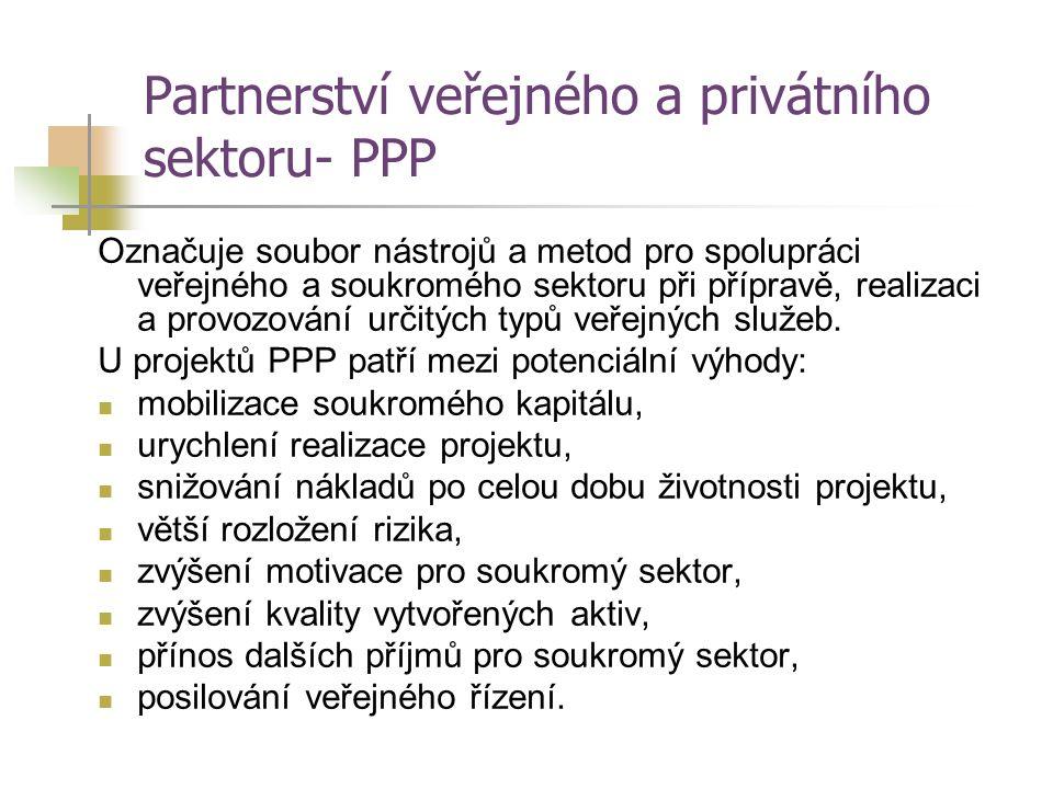 Partnerství veřejného a privátního sektoru- PPP Označuje soubor nástrojů a metod pro spolupráci veřejného a soukromého sektoru při přípravě, realizaci