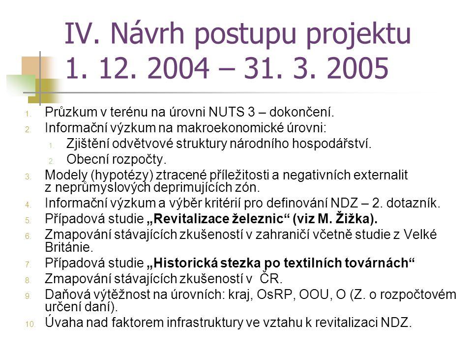 IV. Návrh postupu projektu 1. 12. 2004 – 31. 3. 2005 1. Průzkum v terénu na úrovni NUTS 3 – dokončení. 2. Informační výzkum na makroekonomické úrovni:
