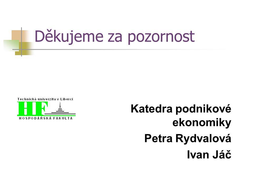 Děkujeme za pozornost Katedra podnikové ekonomiky Petra Rydvalová Ivan Jáč