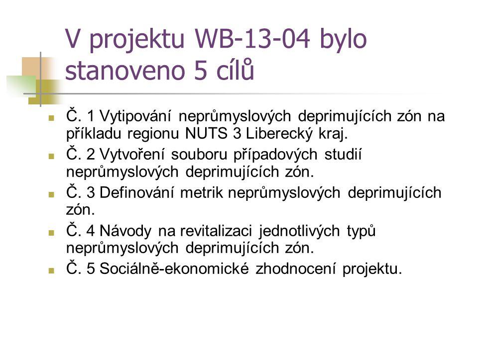V projektu WB-13-04 bylo stanoveno 5 cílů Č. 1 Vytipování neprůmyslových deprimujících zón na příkladu regionu NUTS 3 Liberecký kraj. Č. 2 Vytvoření s