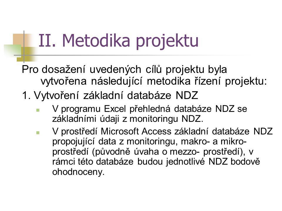 II. Metodika projektu Pro dosažení uvedených cílů projektu byla vytvořena následující metodika řízení projektu: 1. Vytvoření základní databáze NDZ V p