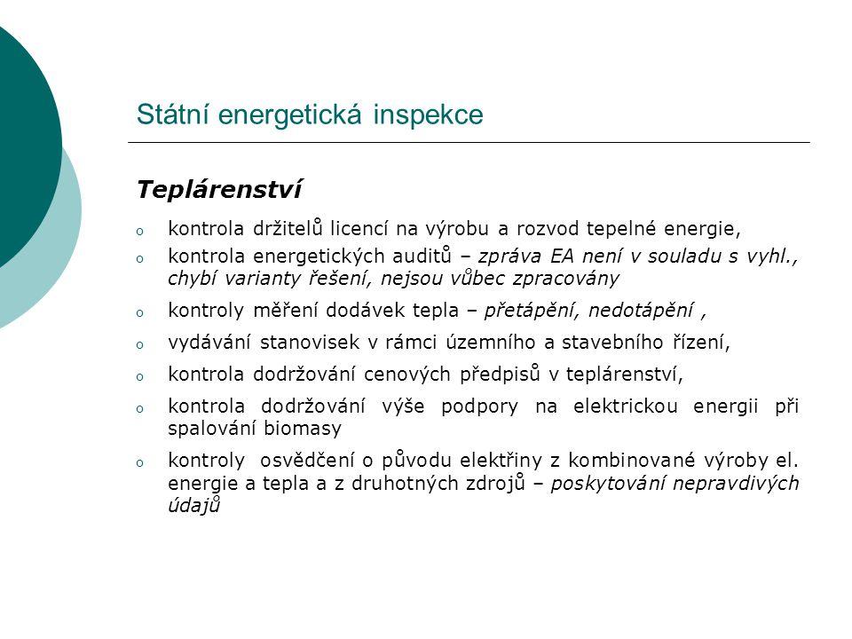 Státní energetická inspekce Teplárenství o kontrola držitelů licencí na výrobu a rozvod tepelné energie, o kontrola energetických auditů – zpráva EA n