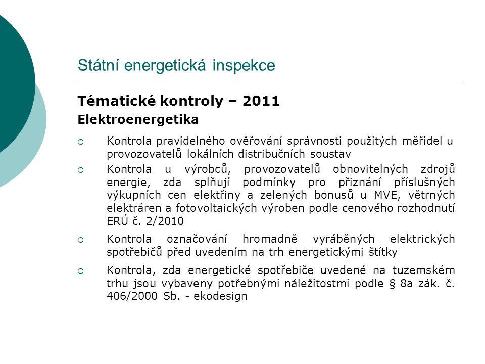 Státní energetická inspekce Tématické kontroly – 2011 Elektroenergetika  Kontrola pravidelného ověřování správnosti použitých měřidel u provozovatelů