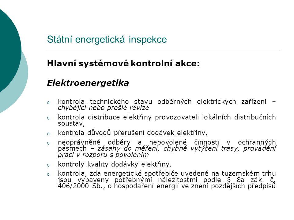 Státní energetická inspekce Tématické kontroly – 2011 Elektroenergetika  Kontrola pravidelného ověřování správnosti použitých měřidel u provozovatelů lokálních distribučních soustav  Kontrola u výrobců, provozovatelů obnovitelných zdrojů energie, zda splňují podmínky pro přiznání příslušných výkupních cen elektřiny a zelených bonusů u MVE, větrných elektráren a fotovoltaických výroben podle cenového rozhodnutí ERÚ č.