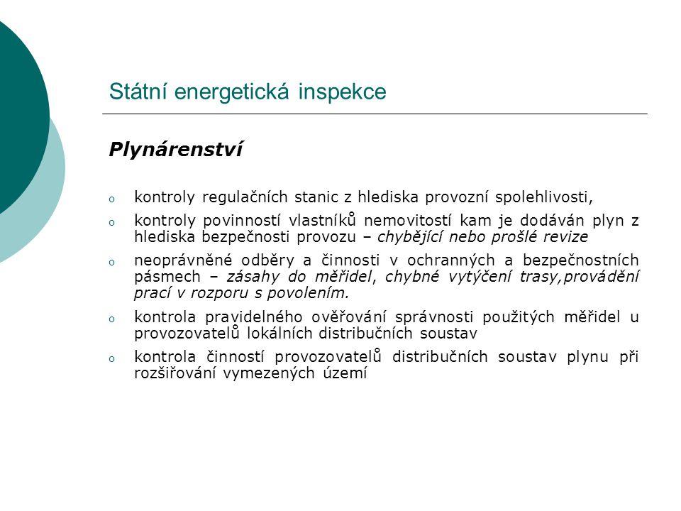 Státní energetická inspekce Teplárenství o kontrola držitelů licencí na výrobu a rozvod tepelné energie, o kontrola energetických auditů – zpráva EA není v souladu s vyhl., chybí varianty řešení, nejsou vůbec zpracovány o kontroly měření dodávek tepla – přetápění, nedotápění, o vydávání stanovisek v rámci územního a stavebního řízení, o kontrola dodržování cenových předpisů v teplárenství, o kontrola dodržování výše podpory na elektrickou energii při spalování biomasy o kontroly osvědčení o původu elektřiny z kombinované výroby el.