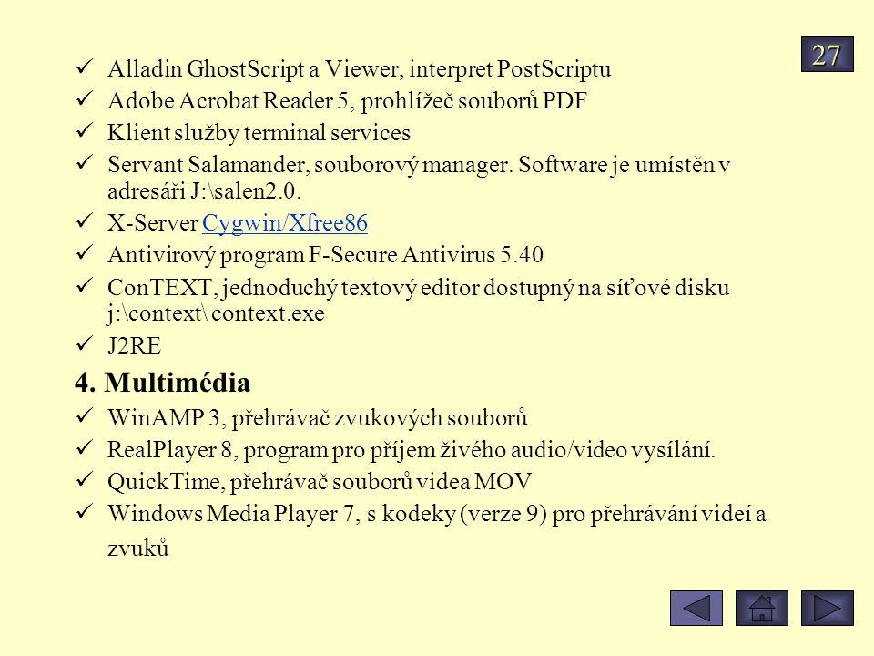 Alladin GhostScript a Viewer, interpret PostScriptu Adobe Acrobat Reader 5, prohlížeč souborů PDF Klient služby terminal services Servant Salamander, souborový manager.