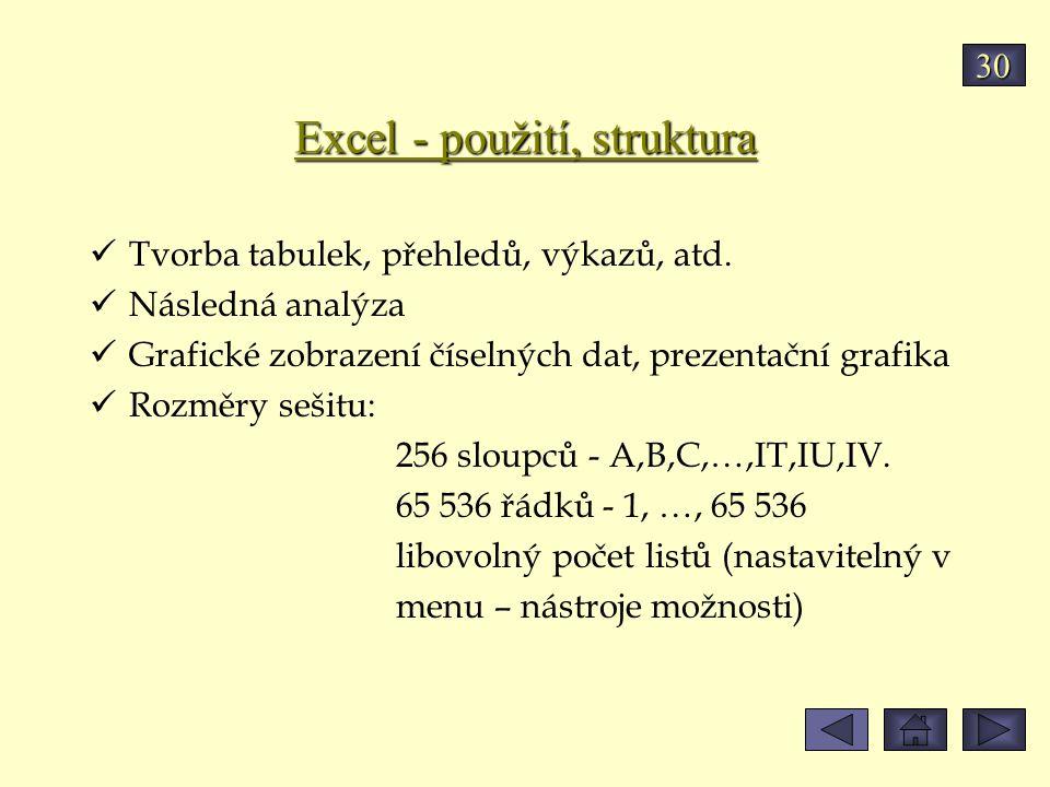 Excel - použití, struktura Tvorba tabulek, přehledů, výkazů, atd. Následná analýza Grafické zobrazení číselných dat, prezentační grafika Rozměry sešit