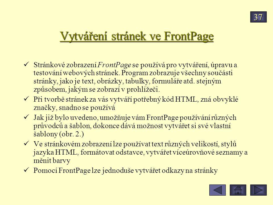 Vytváření stránek ve FrontPage Stránkové zobrazení FrontPage se používá pro vytváření, úpravu a testování webových stránek. Program zobrazuje všechny