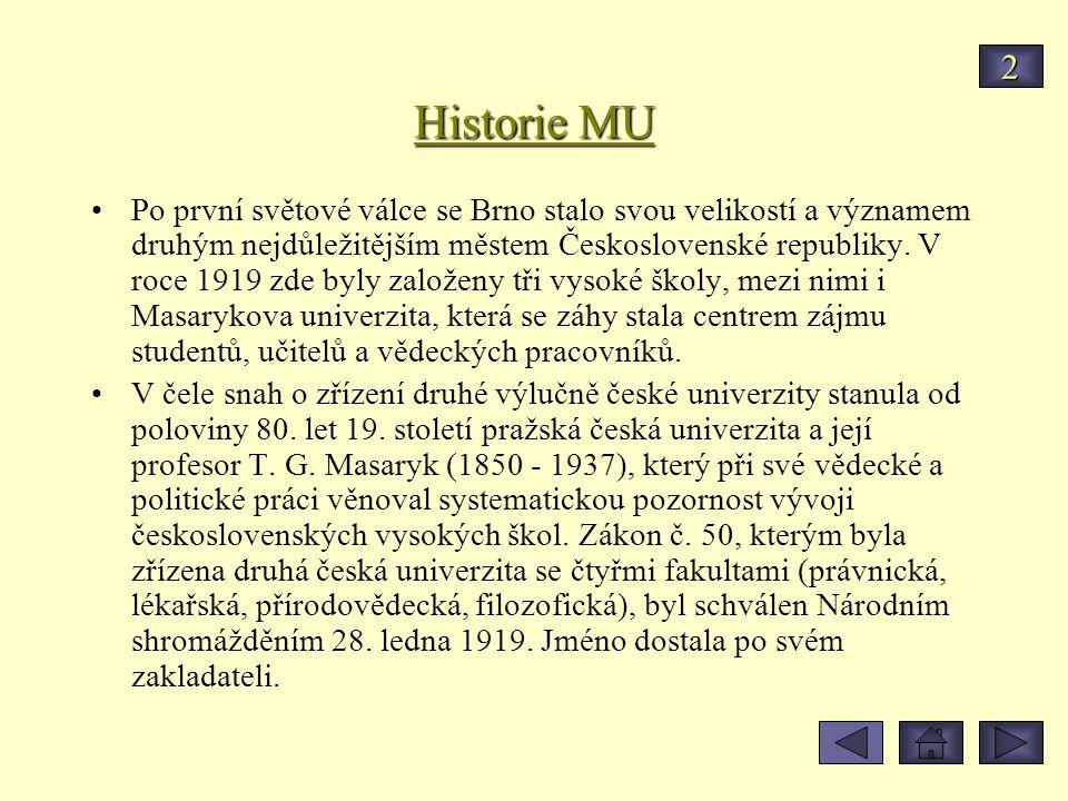 Historie MU Po první světové válce se Brno stalo svou velikostí a významem druhým nejdůležitějším městem Československé republiky. V roce 1919 zde byl