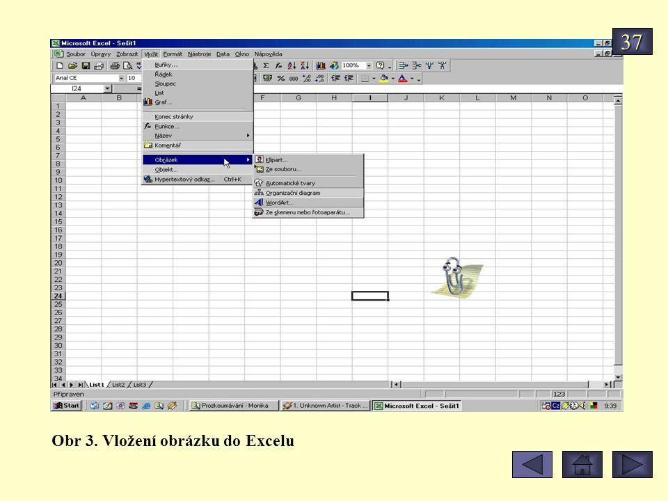 Obr 3. Vložení obrázku do Excelu 37