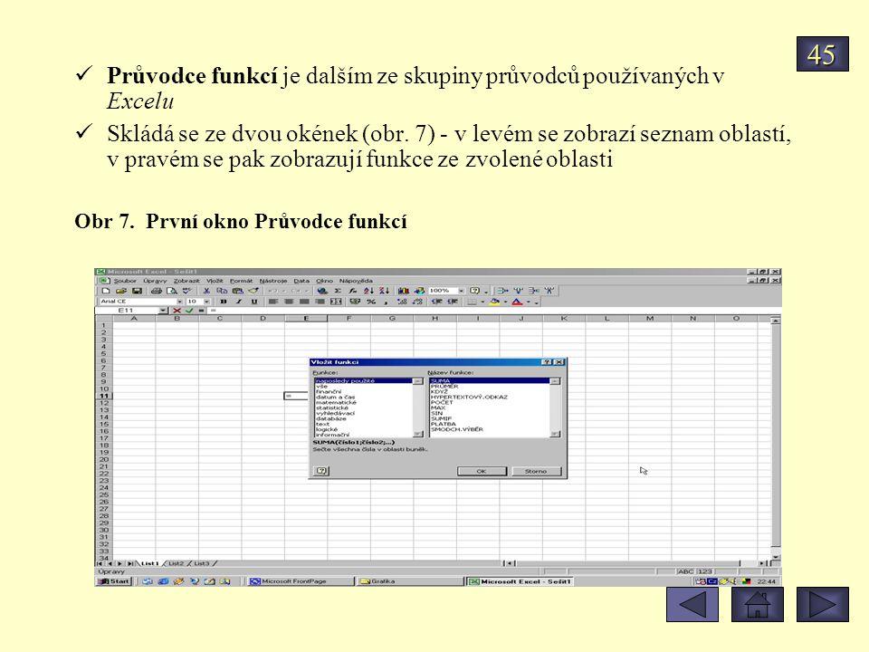 Průvodce funkcí je dalším ze skupiny průvodců používaných v Excelu Skládá se ze dvou okének (obr. 7) - v levém se zobrazí seznam oblastí, v pravém se