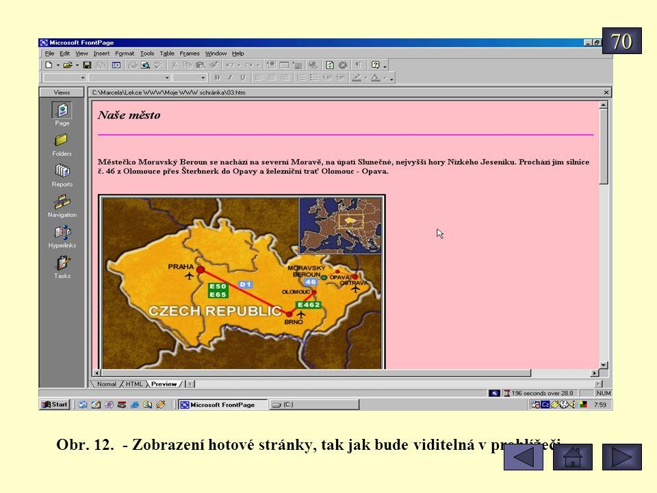 Obr. 12. - Zobrazení hotové stránky, tak jak bude viditelná v prohlížeči 70