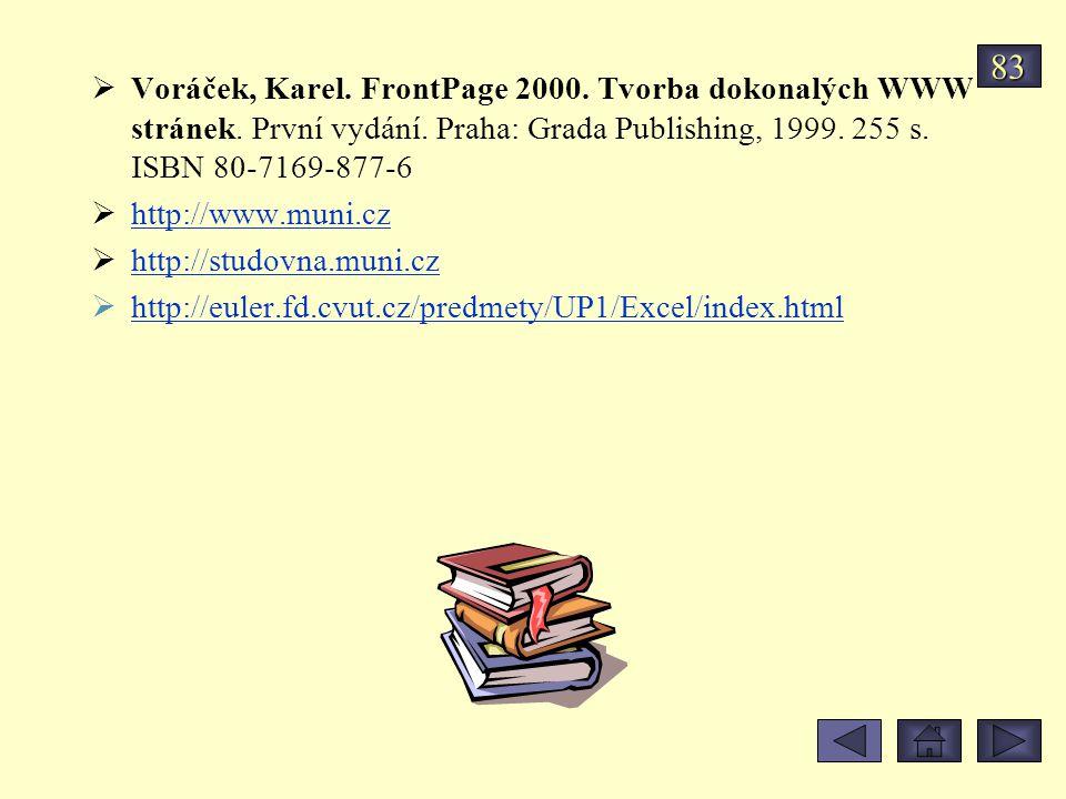  Voráček, Karel. FrontPage 2000. Tvorba dokonalých WWW stránek. První vydání. Praha: Grada Publishing, 1999. 255 s. ISBN 80-7169-877-6  http://www.m