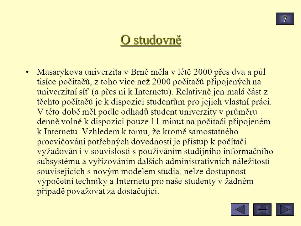 O studovně Masarykova univerzita v Brně měla v létě 2000 přes dva a půl tisíce počítačů, z toho více než 2000 počítačů připojených na univerzitní síť