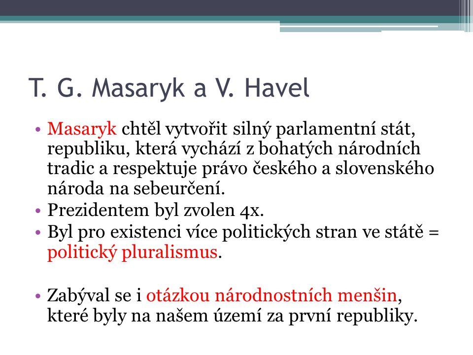 T. G. Masaryk a V. Havel Masaryk chtěl vytvořit silný parlamentní stát, republiku, která vychází z bohatých národních tradic a respektuje právo českéh