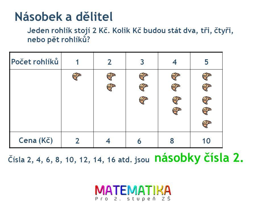 Jeden rohlík stojí 2 Kč. Kolik Kč budou stát dva, tři, čtyři, nebo pět rohlíků? Čísla 2, 4, 6, 8, 10, 12, 14, 16 atd. jsou násobky čísla 2. Počet rohl