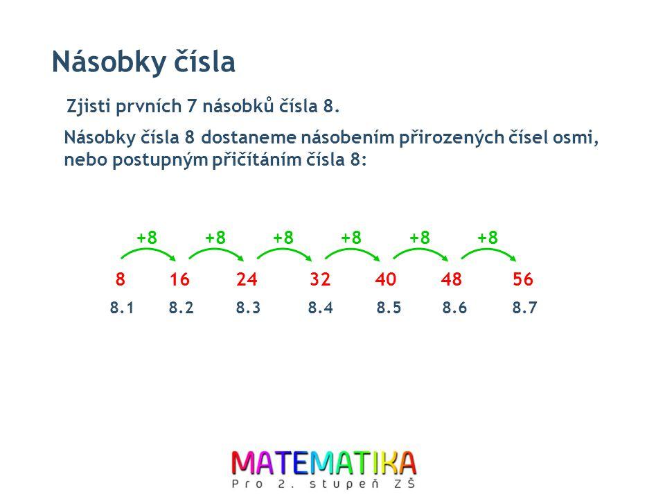 Násobky čísla 816243240 +8 4856 8.18.28.38.48.58.68.7 Násobky čísla 8 dostaneme násobením přirozených čísel osmi, nebo postupným přičítáním čísla 8: Zjisti prvních 7 násobků čísla 8.