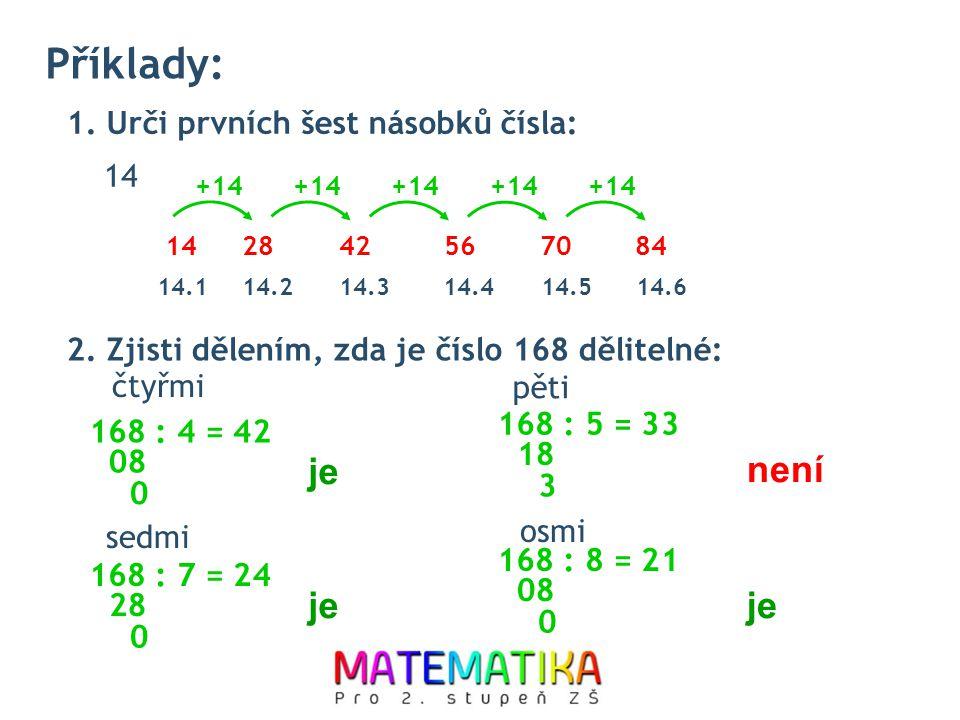 Příklady: 1. Urči prvních šest násobků čísla: 14 2. Zjisti dělením, zda je číslo 168 dělitelné: čtyřmi pěti sedmi osmi 1428425670 +14 84 14.114.214.31