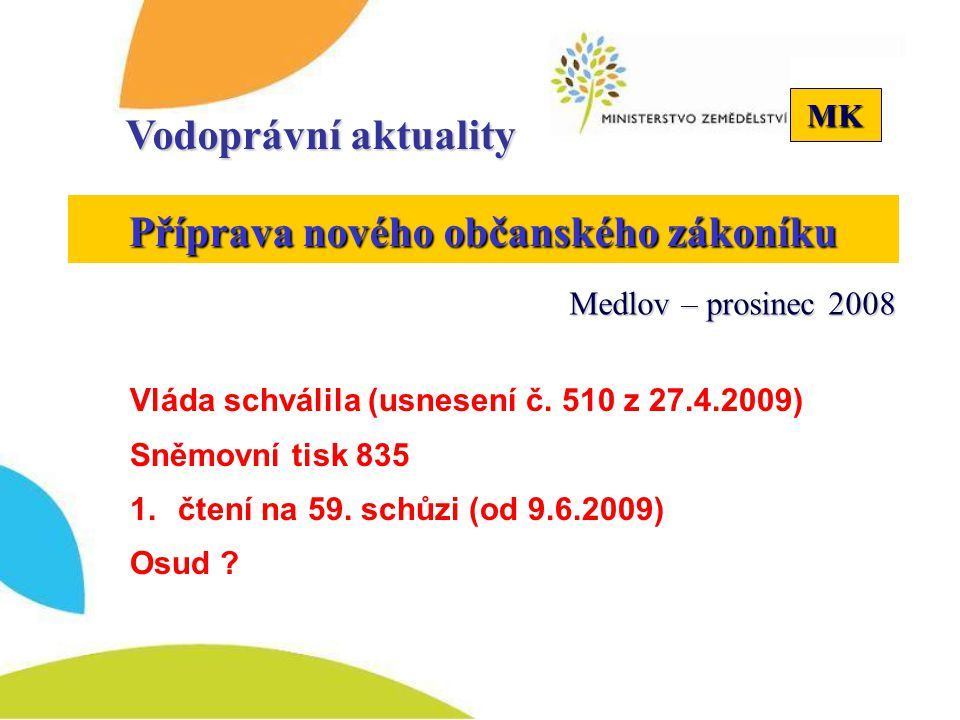 MK Vodoprávní aktuality Příprava nového občanského zákoníku Medlov – prosinec 2008 Vláda schválila (usnesení č. 510 z 27.4.2009) Sněmovní tisk 835 1.č