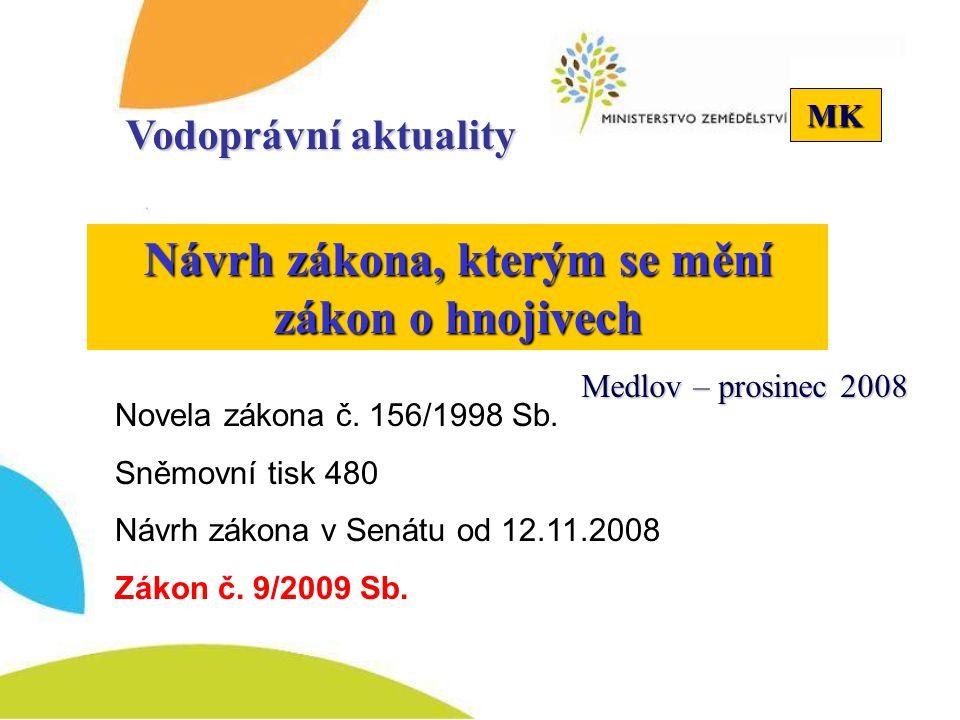 MK Návrh zákona, kterým se mění zákon o hnojivech Vodoprávní aktuality Novela zákona č. 156/1998 Sb. Sněmovní tisk 480 Návrh zákona v Senátu od 12.11.