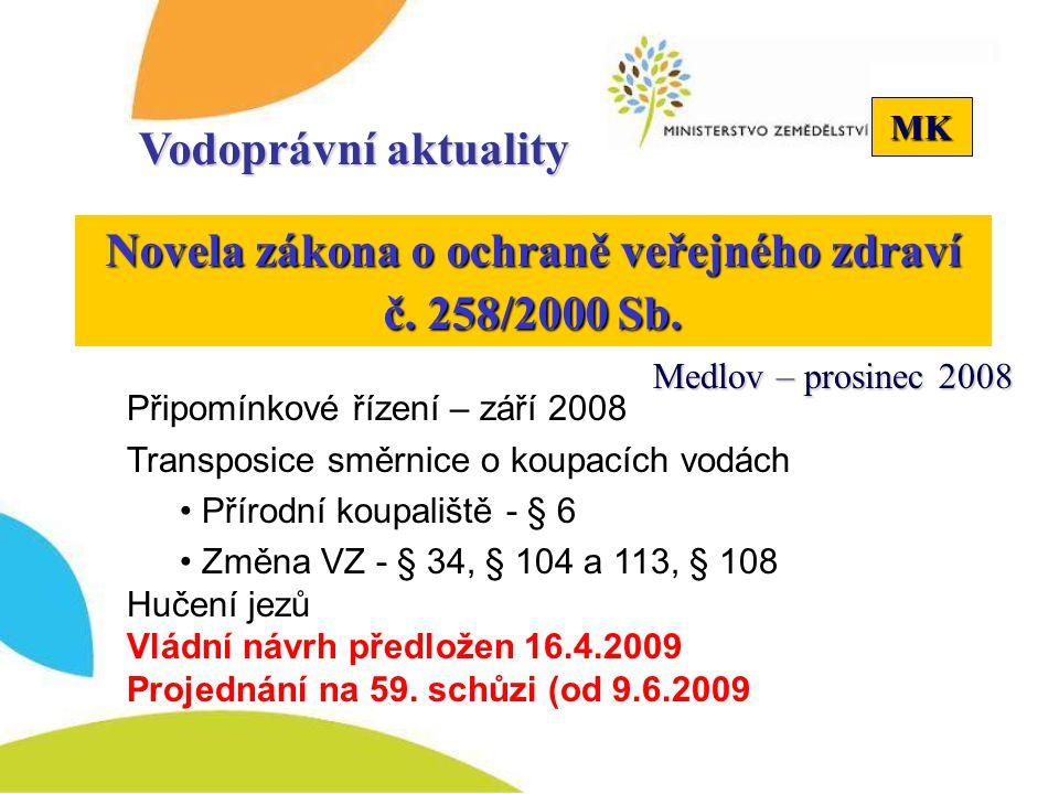 MK Vodoprávní aktuality Novela zákona o ochraně veřejného zdraví č. 258/2000 Sb. Připomínkové řízení – září 2008 Transposice směrnice o koupacích vodá