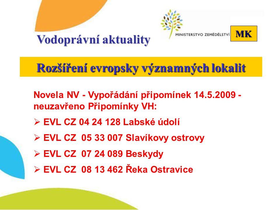 MK Vodoprávní aktuality Rozšíření evropsky významných lokalit Novela NV - Vypořádání připomínek 14.5.2009 - neuzavřeno Připomínky VH:  EVL CZ 04 24 1