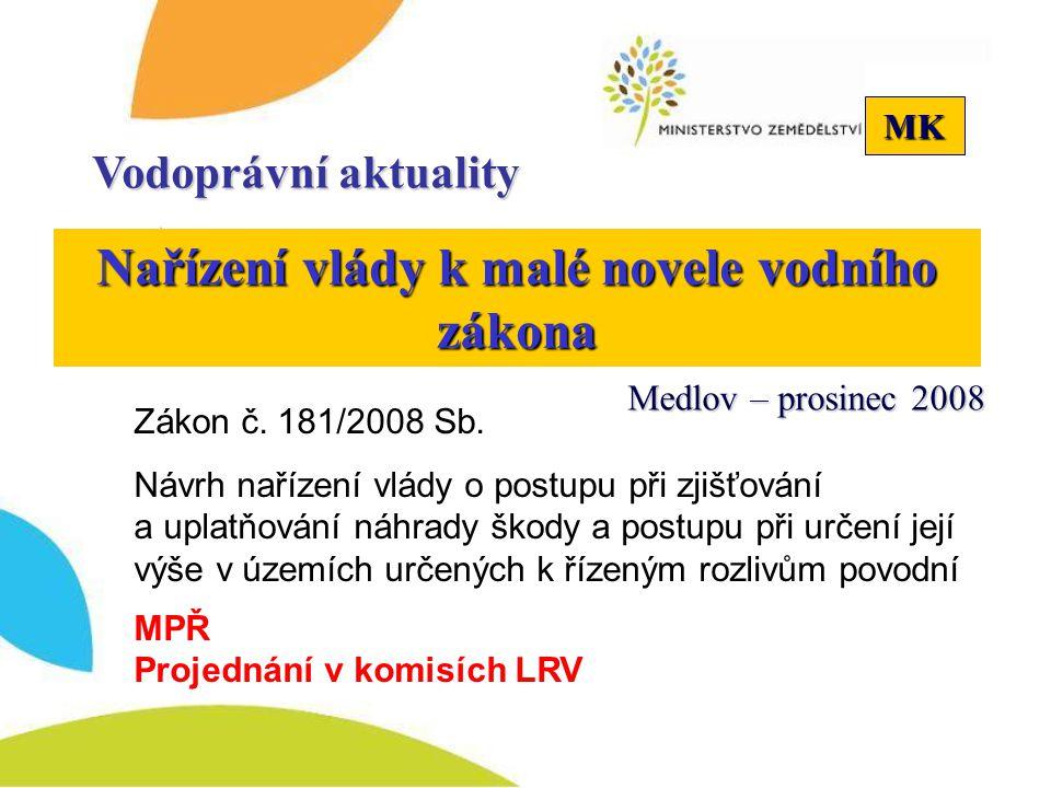 MK Politika územního rozvoje 2008 Připomínkové řízení Vodoprávní aktuality Medlov – prosinec 2008 MMR předložilo do konce roku 2008 vládě MŽP 23.1.2009 - Nesouhlasné stanovisko SEA Kompletní materiál do vlády 1.