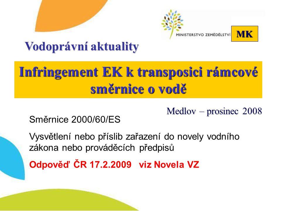 MK Infringement EK k transposici rámcové směrnice o vodě Vodoprávní aktuality Směrnice 2000/60/ES Vysvětlení nebo příslib zařazení do novely vodního zákona nebo prováděcích předpisů Odpověď ČR 17.2.2009 viz Novela VZ Medlov – prosinec 2008