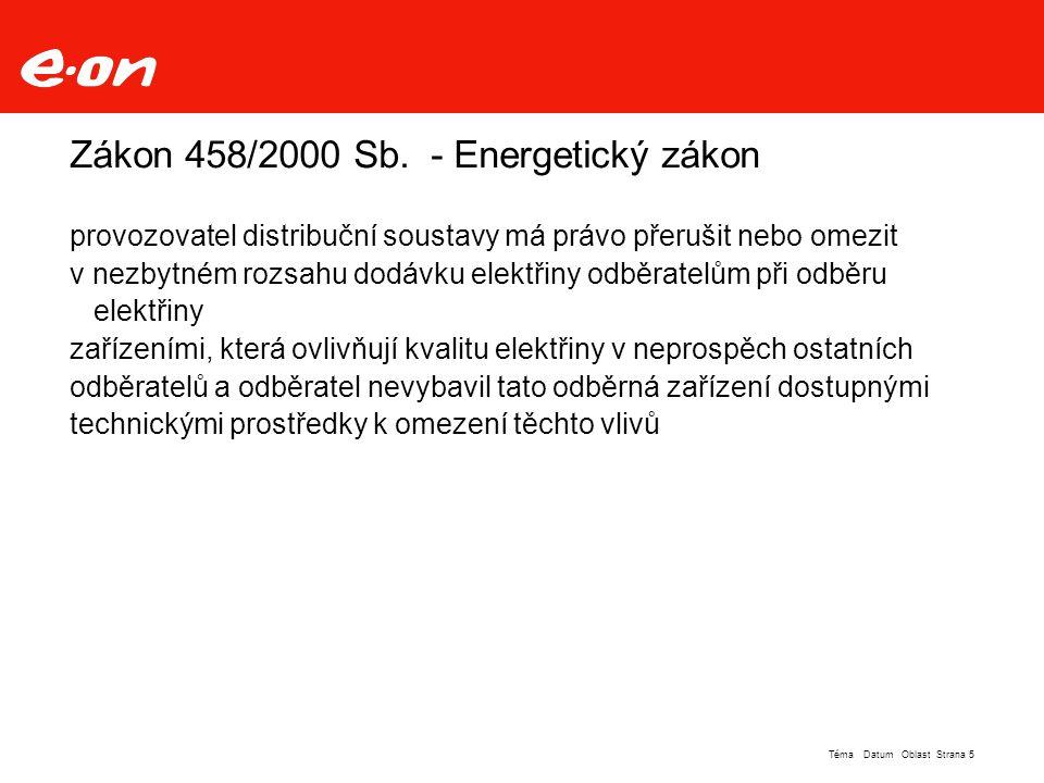 """Strana 6Téma Datum Oblast DS 110kV E.ON """"západ"""