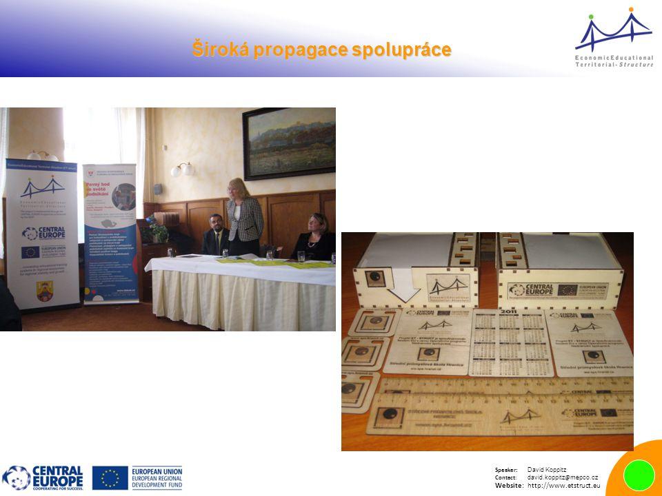 Speaker: David Koppitz Contact: david.koppitz @ mepco.cz Website:http://www.etstruct.eu Široká propagace spolupráce Široká propagace spolupráce