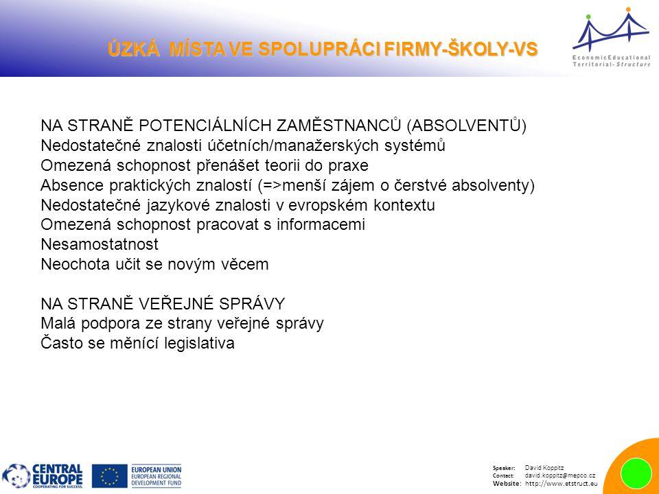 Speaker: David Koppitz Contact: david.koppitz @ mepco.cz Website:http://www.etstruct.eu ÚZKÁ MÍSTA VE SPOLUPRÁCI FIRMY-ŠKOLY-VS ÚZKÁ MÍSTA VE SPOLUPRÁCI FIRMY-ŠKOLY-VS NA STRANĚ POTENCIÁLNÍCH ZAMĚSTNANCŮ (ABSOLVENTŮ) Nedostatečné znalosti účetních/manažerských systémů Omezená schopnost přenášet teorii do praxe Absence praktických znalostí (=>menší zájem o čerstvé absolventy) Nedostatečné jazykové znalosti v evropském kontextu Omezená schopnost pracovat s informacemi Nesamostatnost Neochota učit se novým věcem NA STRANĚ VEŘEJNÉ SPRÁVY Malá podpora ze strany veřejné správy Často se měnící legislativa