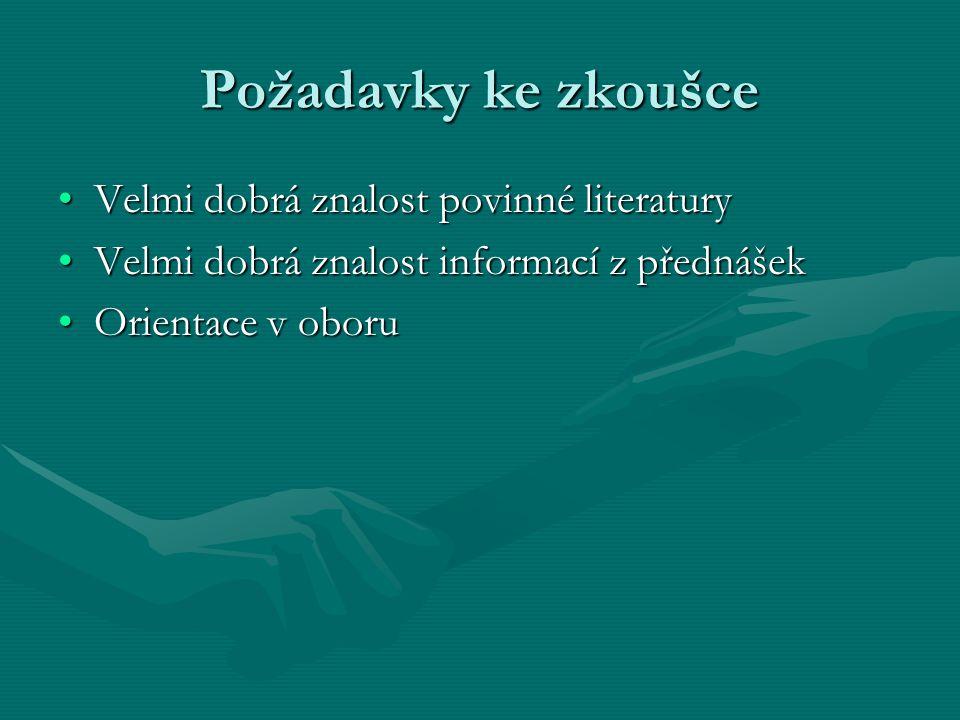 Požadavky ke zkoušce Velmi dobrá znalost povinné literaturyVelmi dobrá znalost povinné literatury Velmi dobrá znalost informací z přednášekVelmi dobrá
