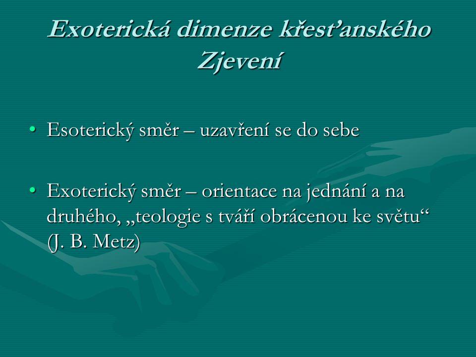 Exoterická dimenze křesťanského Zjevení Esoterický směr – uzavření se do sebeEsoterický směr – uzavření se do sebe Exoterický směr – orientace na jedn