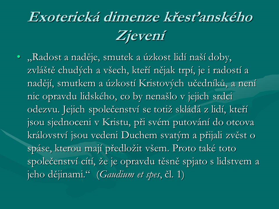 """Exoterická dimenze křesťanského Zjevení """"Radost a naděje, smutek a úzkost lidí naší doby, zvláště chudých a všech, kteří nějak trpí, je i radostí a na"""