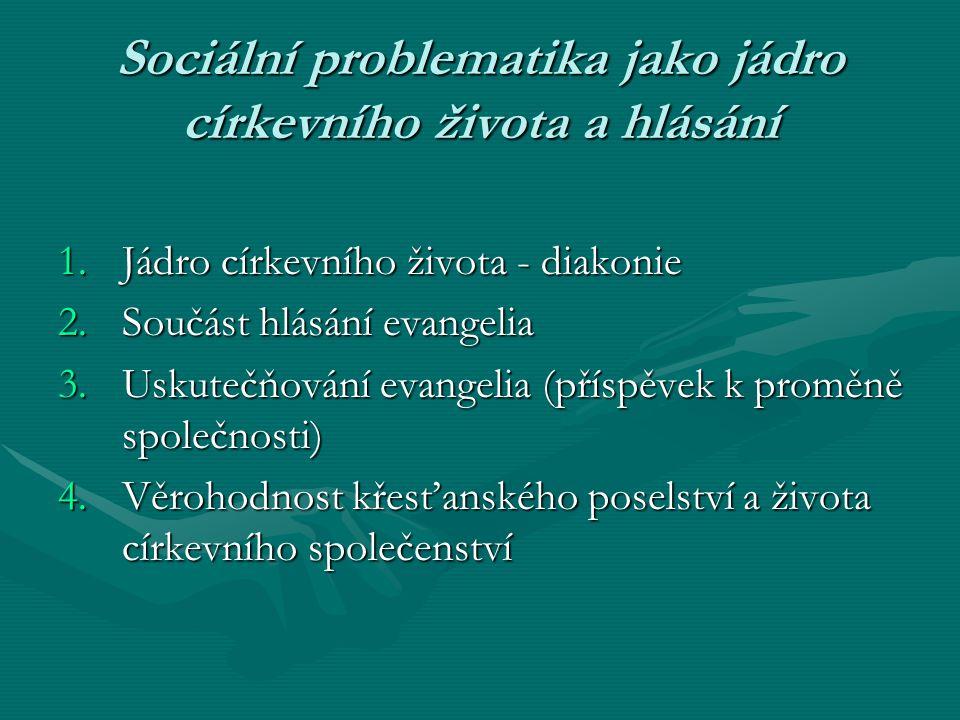 Sociální problematika jako jádro církevního života a hlásání 1.Jádro církevního života - diakonie 2.Součást hlásání evangelia 3.Uskutečňování evangeli
