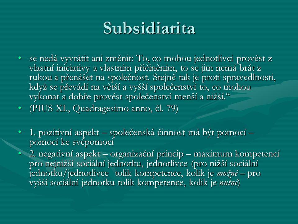 Subsidiarita se nedá vyvrátit ani změnit: To, co mohou jednotlivci provést z vlastní iniciativy a vlastním přičiněním, to se jim nemá brát z rukou a p