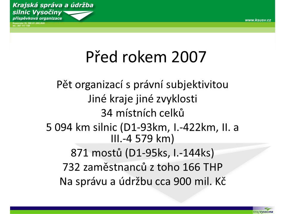 Před rokem 2007 Pět organizací s právní subjektivitou Jiné kraje jiné zvyklosti 34 místních celků 5 094 km silnic (D1-93km, I.-422km, II. a III.-4 579