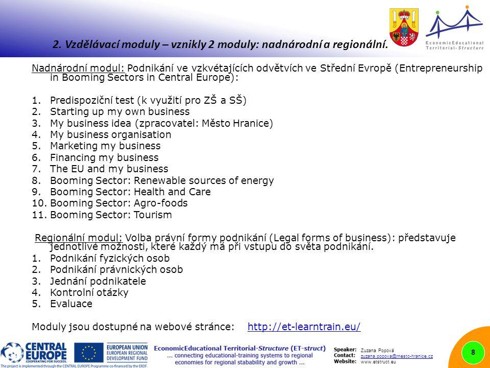 Zuzana Popová zuzana.popova@mesto-hranice.cz www.etstruct.eu Nadnárodní modul: Podnikání ve vzkvétajících odvětvích ve Střední Evropě (Entrepreneurship in Booming Sectors in Central Europe): 1.Predispoziční test (k využití pro ZŠ a SŠ) 2.Starting up my own business 3.My business idea (zpracovatel: Město Hranice) 4.My business organisation 5.Marketing my business 6.Financing my business 7.The EU and my business 8.Booming Sector: Renewable sources of energy 9.Booming Sector: Health and Care 10.Booming Sector: Agro-foods 11.Booming Sector: Tourism Regionální modul: Volba právní formy podnikání (Legal forms of business): představuje jednotlivé možnosti, které každý má při vstupu do světa podnikání.