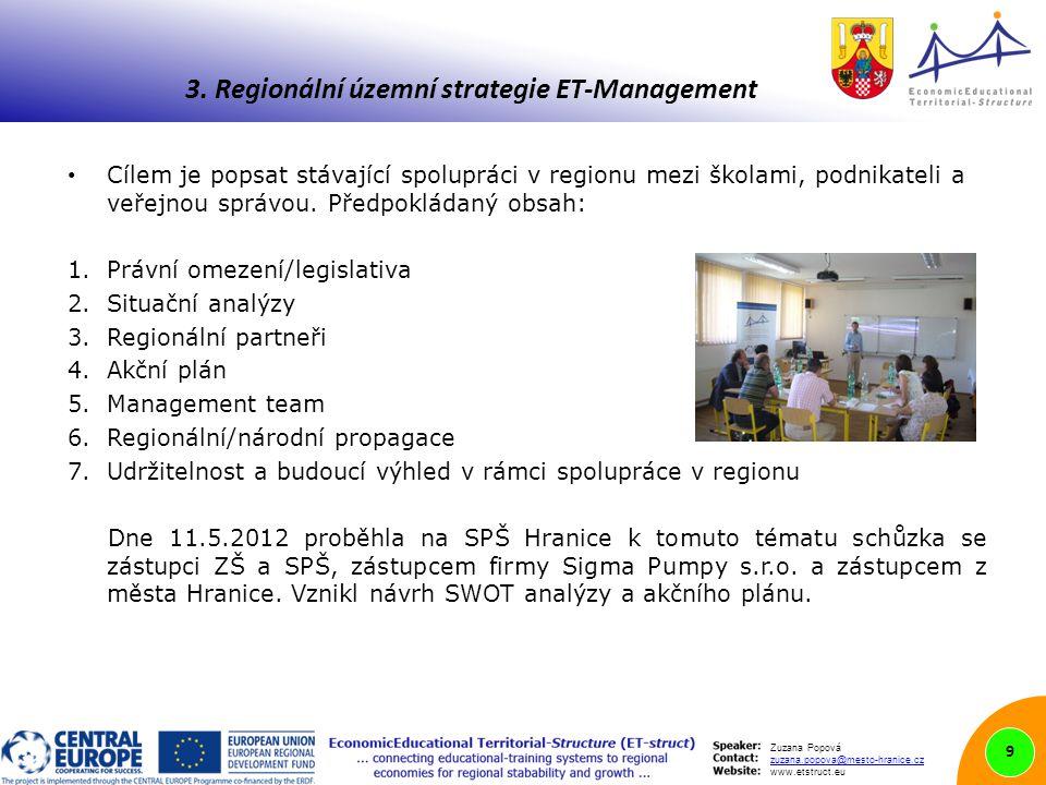 Zuzana Popová zuzana.popova@mesto-hranice.cz www.etstruct.eu Cílem je popsat stávající spolupráci v regionu mezi školami, podnikateli a veřejnou správou.